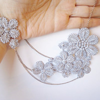 Gray Blue Lace Necklace, Lace necklace