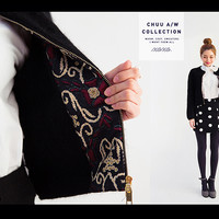 Zip-Up Cardigan with Patterned Lining - I know you wanna kiss me. Thank you for visiting CHUU.