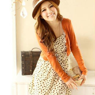 YESSTYLE: Tokyo Fashion- Set: Ruffle Dotted Dress + Cropped Cardigan (Dress - Beige - One Size / Cardigan - Orange - One Size) - Free International Shipping on orders over $150
