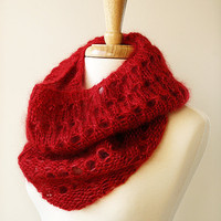 Infinity Scarf - Fall Winter Fashion - Knit Cowl Scarf - Mohair and Silk - Genna Cowl