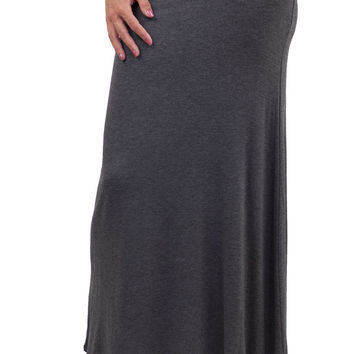 Solid Maxi Skirt Charcoal - Charcoal /