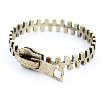 Zip Retro Metal Bracelet  Yellow