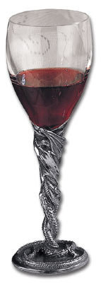 Dragon Crystal And Pewter Wine Glass From
