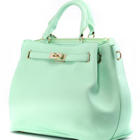 Mint Front Lock Shoulder Bag by Chic+ - New Arrivals - Retro, Indie and Unique Fashion