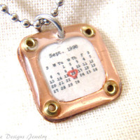 Personalized Calendar Charm Necklace... Custom Date... Wedding, Birthday, Anniversary...