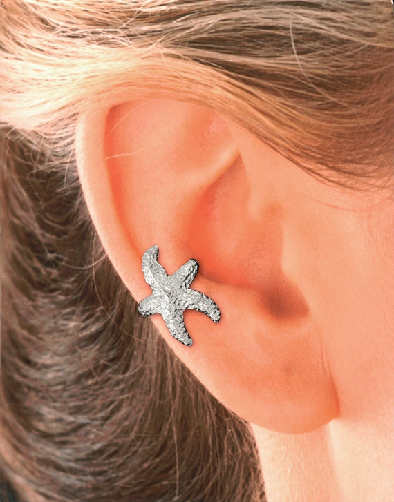 Starfish Ear Cuff in Sterling Silver and Gold Vermeil