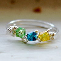 Birthstone Ring, Personalized mother grandmother - Wire Wrapped