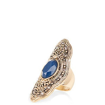 Gold and Blue Stone Shield Ring