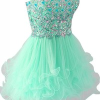 Kamilione Tulle Sweetheart Neckline Rhinestone Short Homecoming Prom Dress