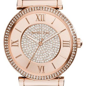 Michael Kors 'Catlin' Crystal Accent Leather Strap Watch, 38mm | Nordstrom