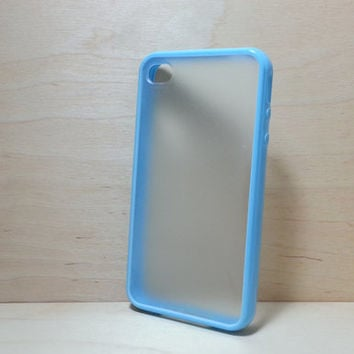 Silicone Bumper and Translucent Frosted Hard Plastic Back Case for iPhone 4 / 4S - Light Blue