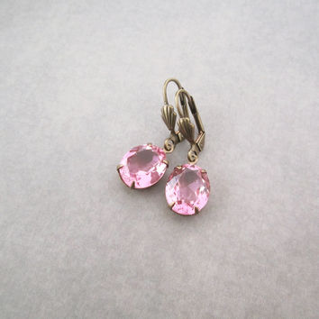 Pink Earrings - Elegant Bridal Jewelry - Romantic Feminine