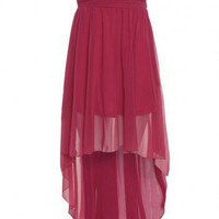 Drop Back Chiffon Rouche Front Dress