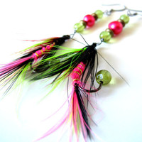 Fishing Fly Earrings - Hot Pink, Lime Green, Black, Red, Gold String, Feathers, Fishing Hooks, Pink Pearl, Green Gemstone, Copper, Fall