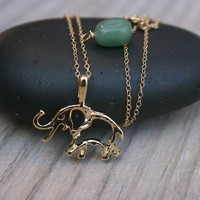 Lucky elephant charm necklace with Jade