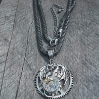 "Resvd. for Ja Wood: Clockpunk Fantasy Pendant Necklace ""Tintaglia of Time"" - Dragon Pendant w/Petite Watch Movement on Mod. Box Chain"