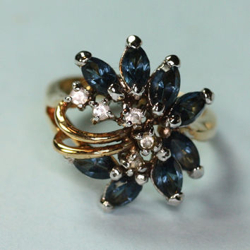 Faux Sapphire Ring Crystal Clusters Vintage Size 6 1/4