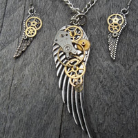 "Reserved for F. T. ""Time Flies"" - Steampunk Pendant Necklace and Earring Set, Silver Wings & Watch Gears and Parts on Curb Chain and Fr Hks"