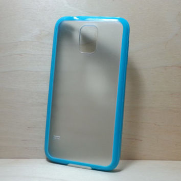 Silicone Bumper and Translucent Frosted Hard Plastic Back Case for Samsung Galaxy S5 - Turquoise