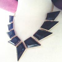 Black Geometric Statement Necklace and Earring Set