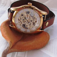 Handmade Wrap Bracelet Gold Watch with a unique stable leather band FREE SHIPPING