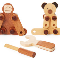 Wooden Animals Tool Kit, Natural/Brown, Children's Toys