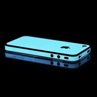 SLICKWRAPS -Glow In The Dark Blue OEM Slickwraps Protective Skin For Apple AT&amp;t Vzw Iphone 4, Iphone 4s-Computers &amp; Electronics-Phones &amp; Communications-Accessories