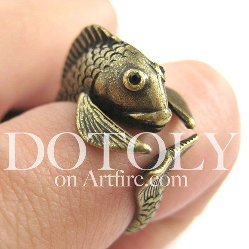 Miniature Fish Animal Wrap Around Ring in Bronze Size 5 to 9 available