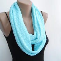 Lace infinity scarf, mint blue loop scarf, fall scarf