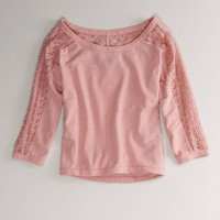 AE Cozy Lace Popover | American Eagle Outfitters