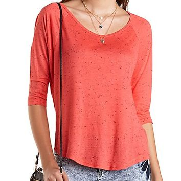 Three-Quarter Sleeve Scoop Neck Tee by Charlotte Russe