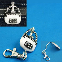 White Handbag Purse Key Finder Key Chain Clasp Key Clip