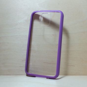 Silicone Bumper and Clear Hard Plastic Back Case for Samsung Galaxy S5 - Purple
