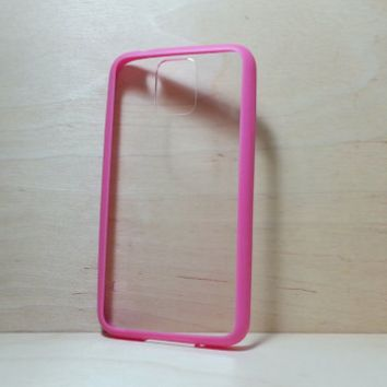 Silicone Bumper and Clear Hard Plastic Back Case for Samsung Galaxy S5 - Rose Pink