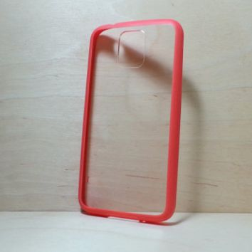 Silicone Bumper and Clear Hard Plastic Back Case for Samsung Galaxy S5 - Burgundy