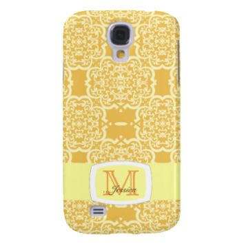 Quatrefoil Damask (Yellow) Galaxy S4 Cover