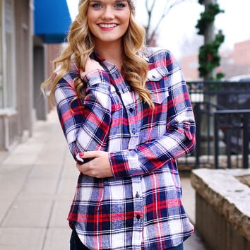 But First, Coffee Flannel - NAVY /