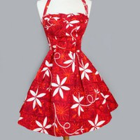 1950&#x27;s Red Hawaiian Alfred Shaheen Tea Length Dress - M VINTAGE RED HAWAIIAN DRESS: SHAHEEN :