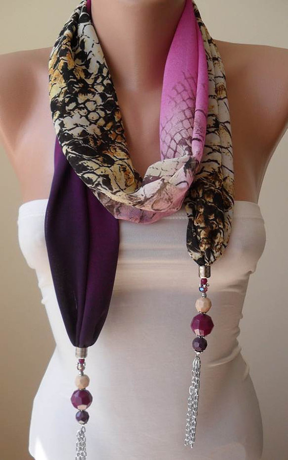 Scarf Necklace - Jewelry Scarf - Golden Colors - Purple and Leopard - Trendy - Fashion