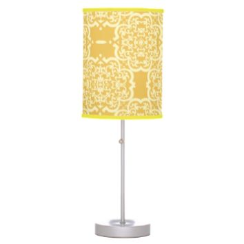Quatrefoil Damask (Yellow) Table Lamps