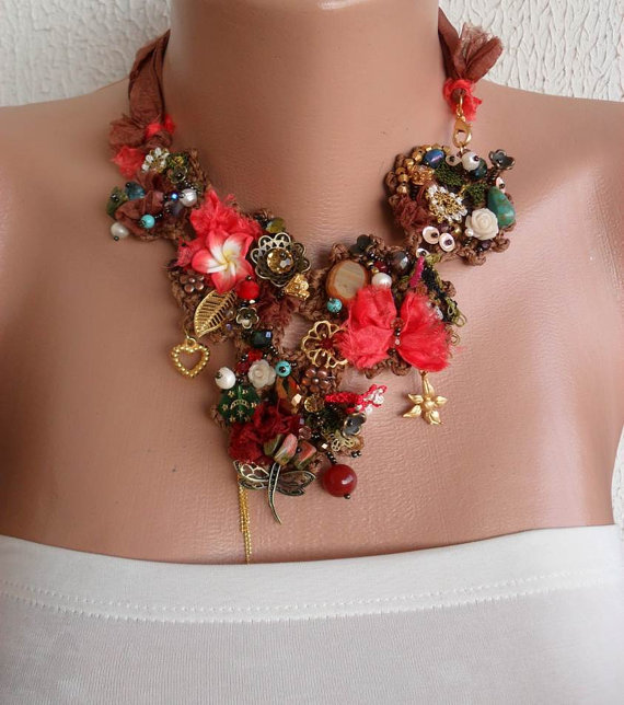 Handmade - Crochet and Bead Necklace - Brown and Coral Necklace - Handmade Design