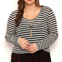 Plus Size Long Sleeve Metallic Stripe 2fer Top with Lace Layer