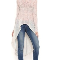 Long Sleeve Extreme High Low Sweater with Medallion Stones
