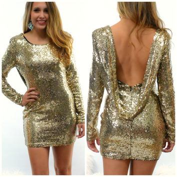 Glisten Up Gold Sequin Cocktail Party Dress