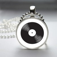 Vinyl Record Camera Glass Tile Bezel Round Pendant Necklace