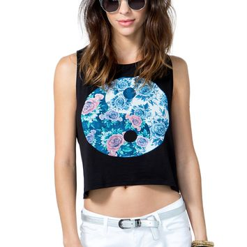 Flower Power Ying Yang Muscle Tee