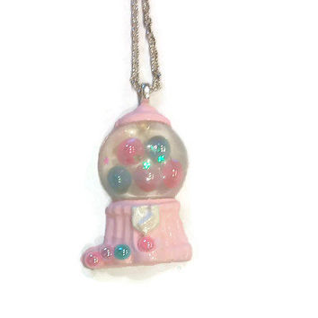 Gumball Machine Necklace, Pink Pearl Jewelry, Candy Necklace, Tween Necklace, Teen Accessories, Girl Jewellery, Girls Accessory,