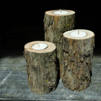 Rustic Maple Tealight Trio