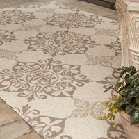 &quot;Kennedy&quot; Indoor/Outdoor Rug - Horchow - UV protected and mildew resistant. Hand-hooked polypropylene rug. Imported.