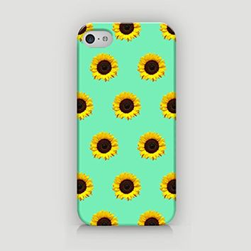 Sunflower Pattern - Hard Plastic Case for iPhone 5/5S - ALL SIDES PRINTED - YouniQ Art's Registered Design